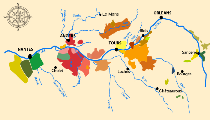 Carte des vins de Loire